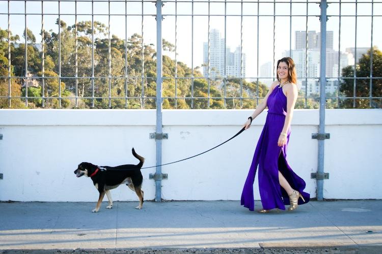 stylish-woman-walking-dog