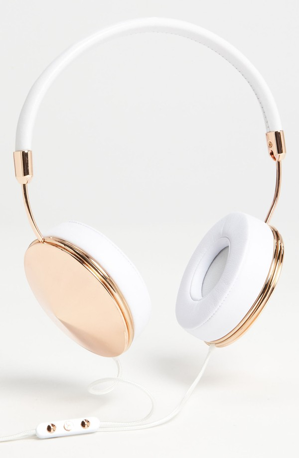stylish headphones and colorful earphones