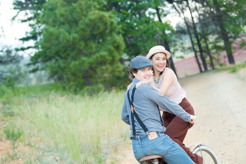 engagement photos with a bike