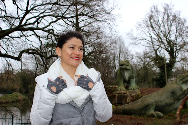 grey leather fingerless gloves