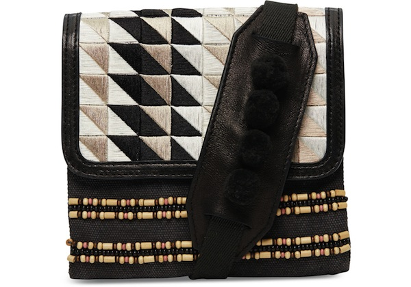 Toms Black Triangle Embroidered Crossbody