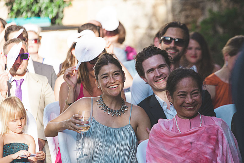 pictures of wedding guests at a summer wedding