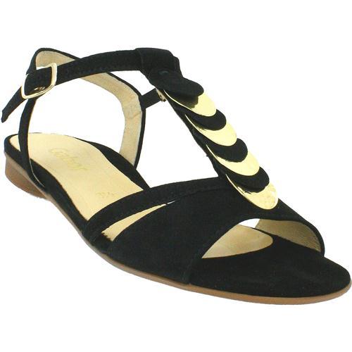 gabor black sandal with gold