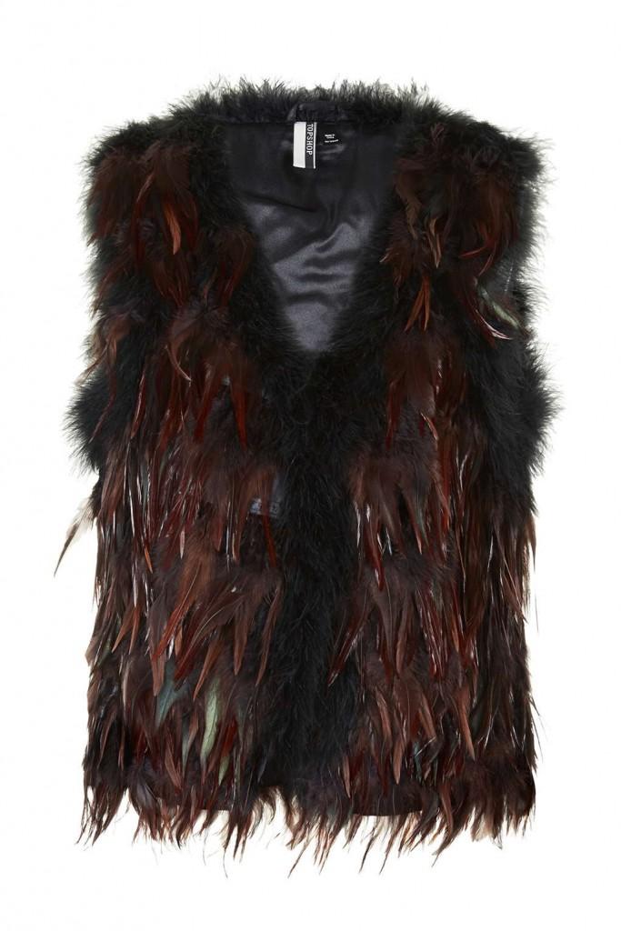 topshop feather vest