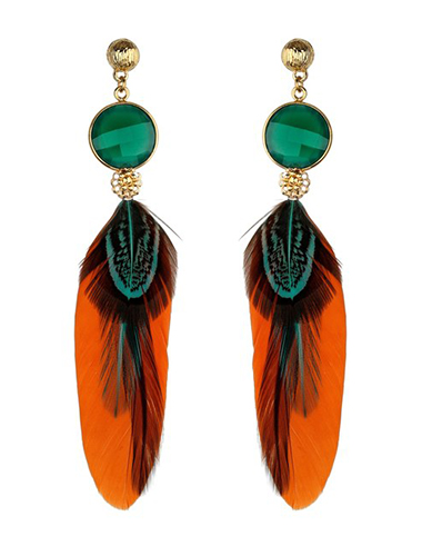 gas bijoux feather shoulder duster earring