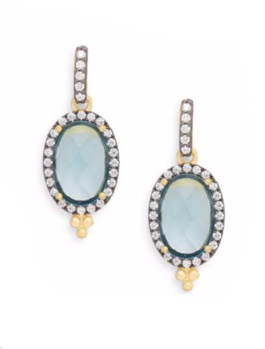 freida rothman mixed metal oval drop earrings
