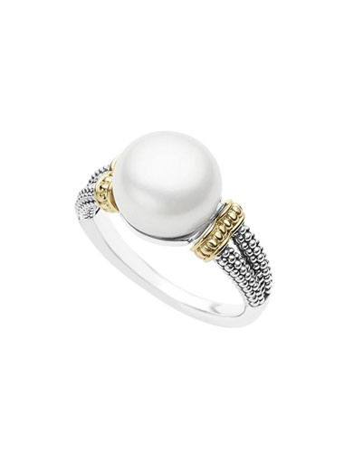lagos mixed metal pearl ring