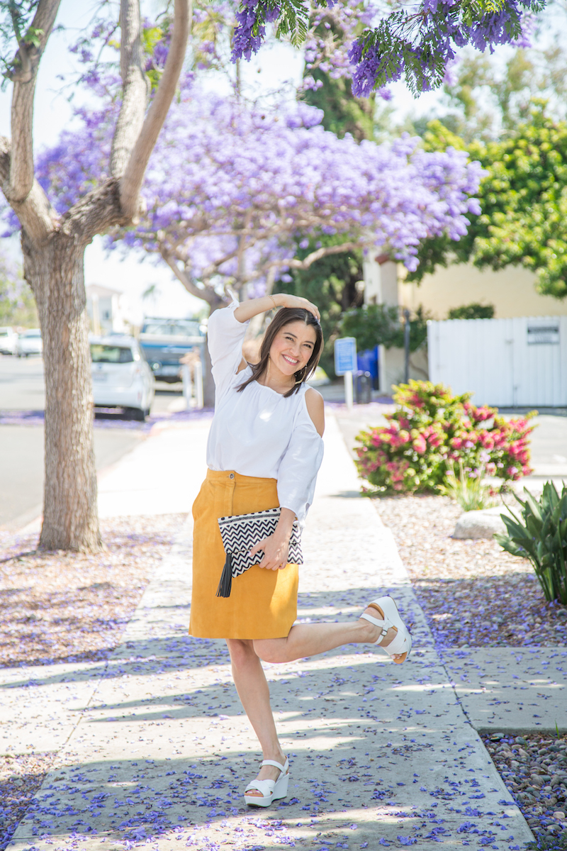 how to wear a suede skirt
