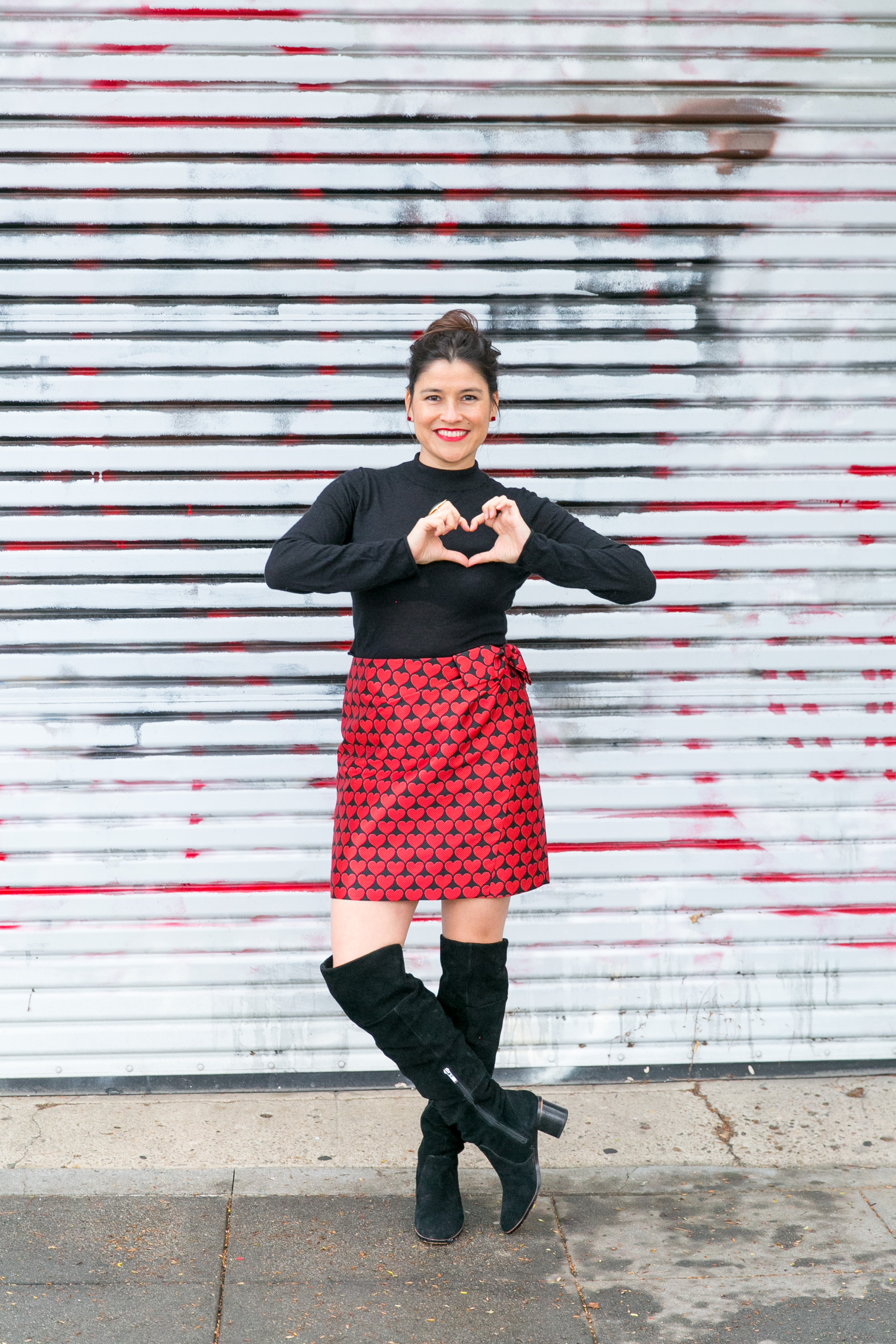Valentineu0027s Day Outfit Idea: Heart Printed Skirt