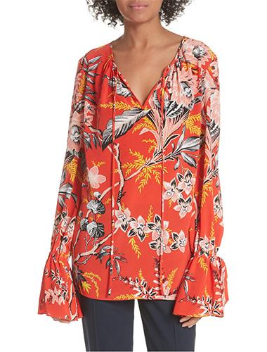 dvf keyhole print silk blouse long shirts for leggings