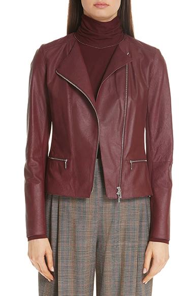 a3d24ad77c35 Lafayette 148 New York Trista Lambskin Leather Jacket