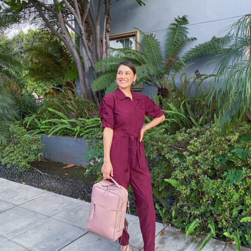 burgundy joie jumpsuit and ally shoes