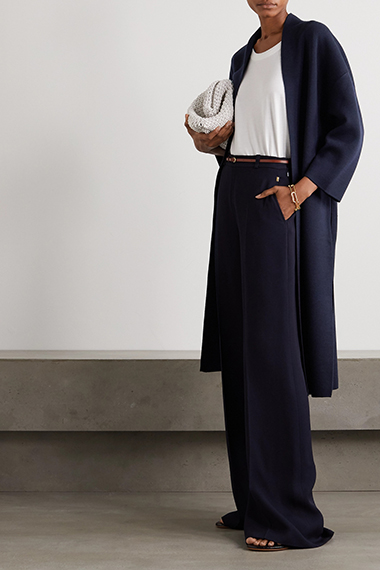akris belted wool and silk blend coat