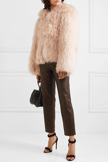 alaia oversized hooded shearling coat