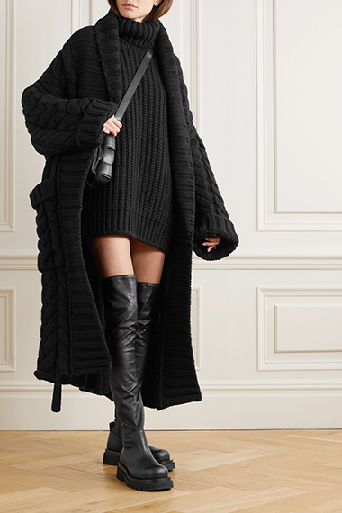 dolce and gabbana oversized belted cable knit wool and cashmere blend cardigan