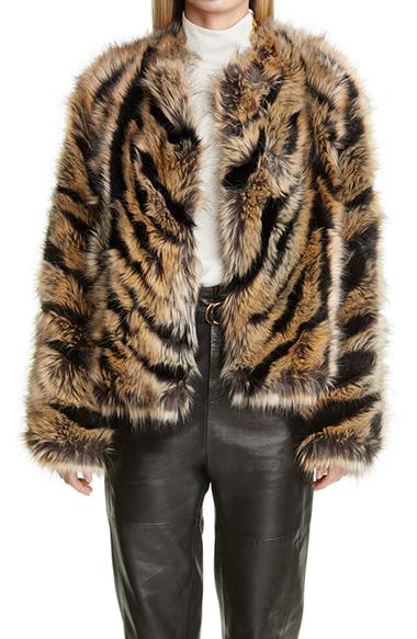 st john collection faux fur jacket