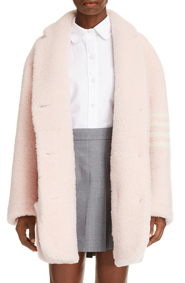 thom browne 4 bar genuine shearling coat